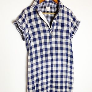 Like NEW J. Crew gingham navy plaid mini dress